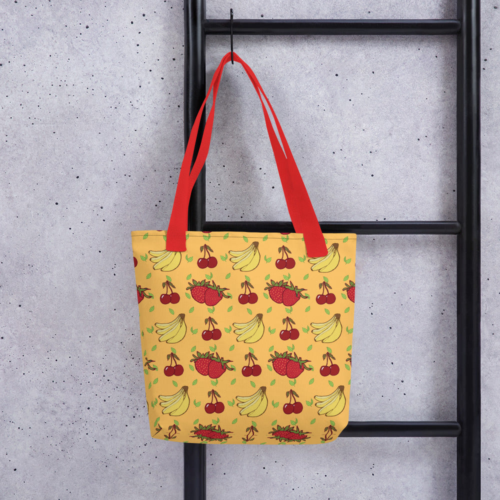 Tote Bag with BANANA, CHERRY, STRAWBERRY pattern - svpatterndesigns