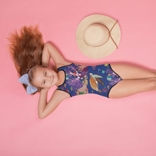 Load image into Gallery viewer, All-Over Print Kids Swimsuit UNDERWATER FRIENDS Pattern Designs from drawings by SV Pattern Designs.