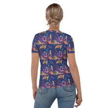 Load image into Gallery viewer, Women's All-Over Print T-shirt UNDERWATER FRIENDS pattern Pattern Designs from drawings by SV Pattern Designs.