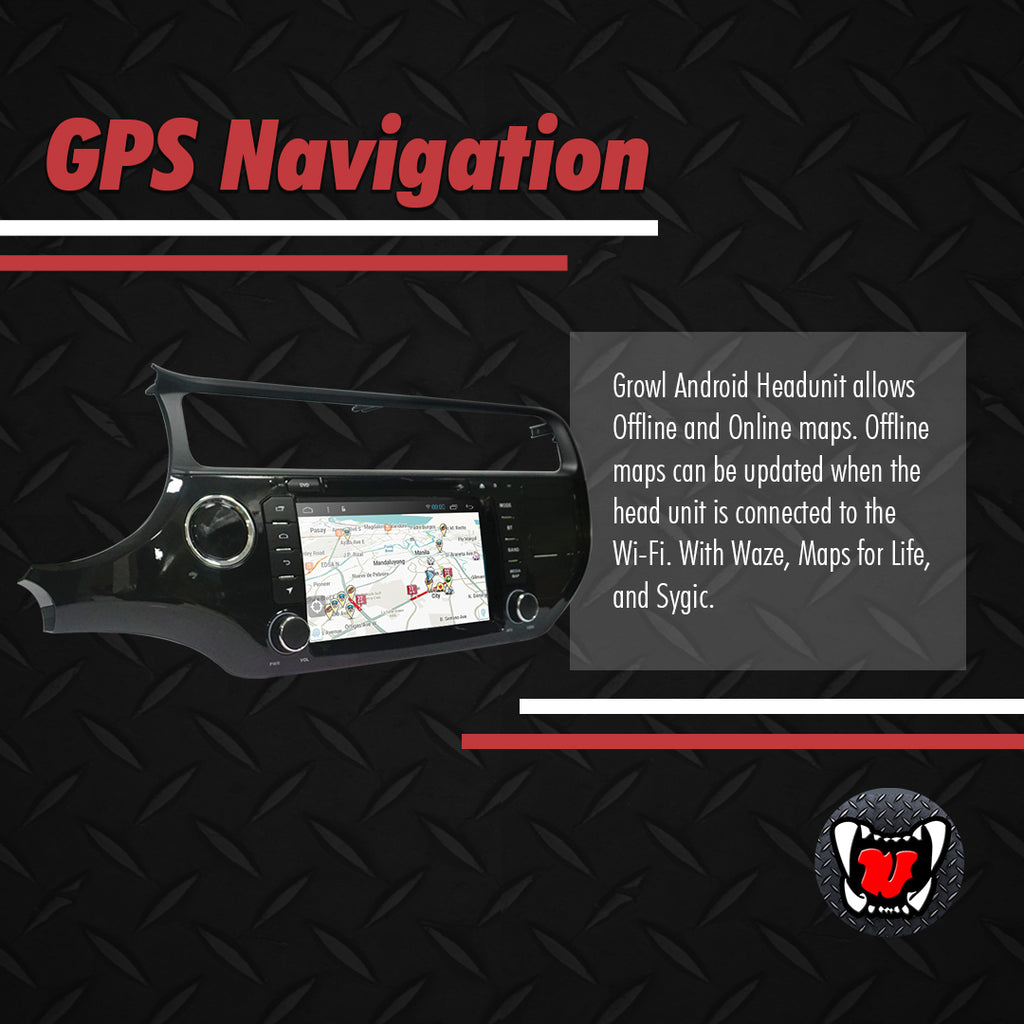 "Growl for Kia Rio 2016-2017 All Variants Android Head Unit 8"" FULL TAB"