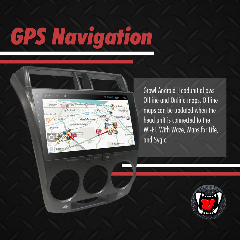 "Growl for Honda City 2008-2013 All Variants Android Head Unit 10"" FULL TAB"