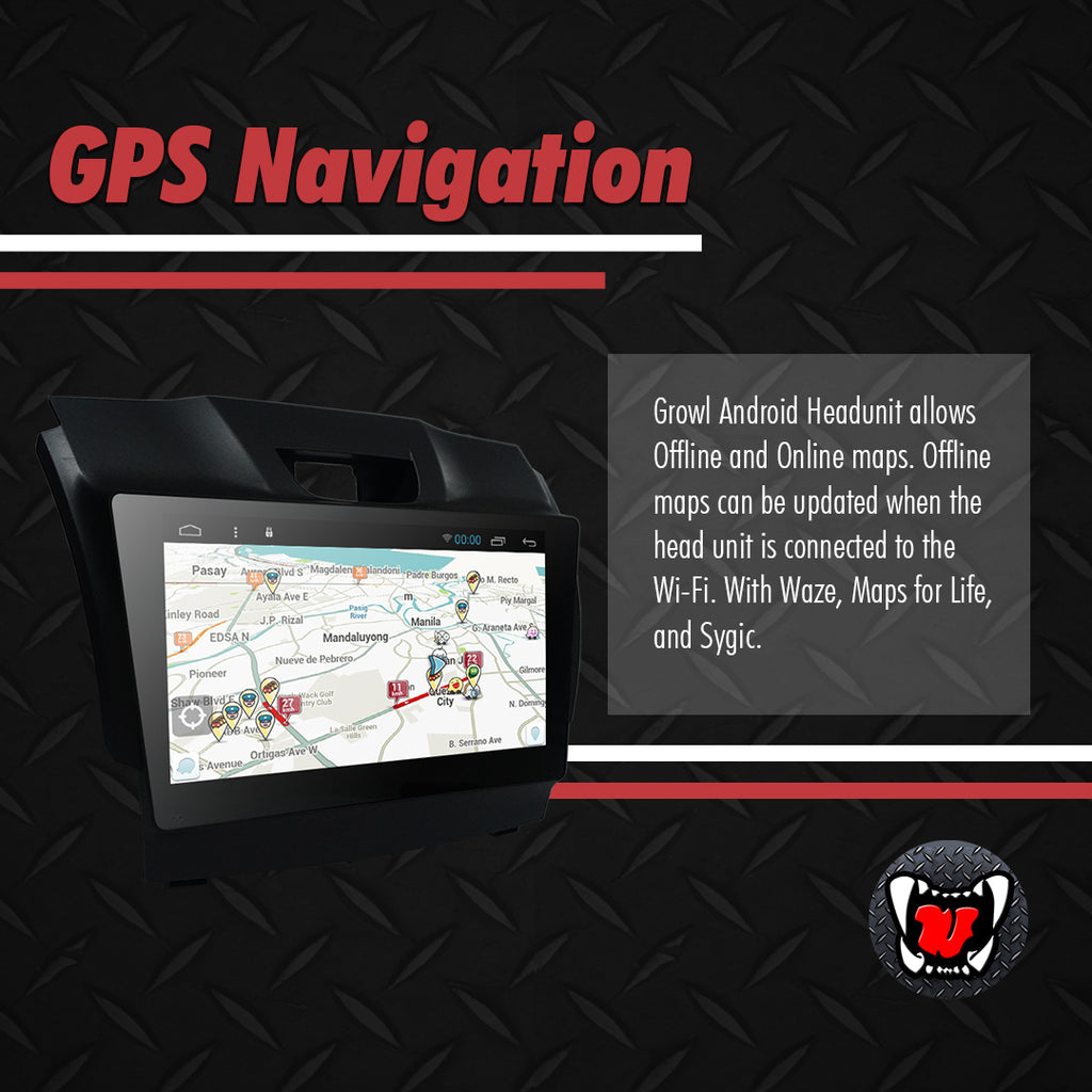 "Growl for Isuzu MU-X 2013- 2020 LS-A AT 4x2 Variants Android Head Unit 9"" FULL TAB"