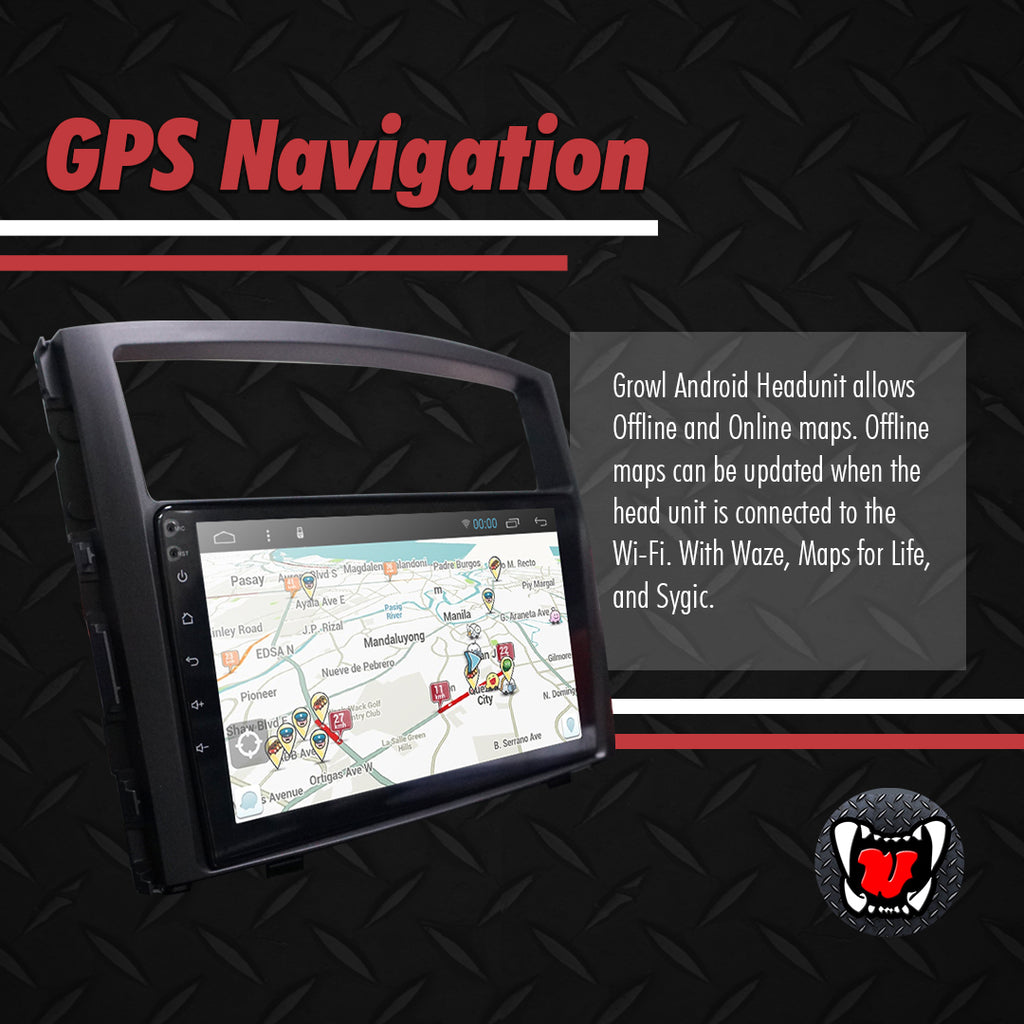 "Growl for Mitsubishi Pajero 2006- 2020 All Variants Android Head Unit 9"" FULL TAB"