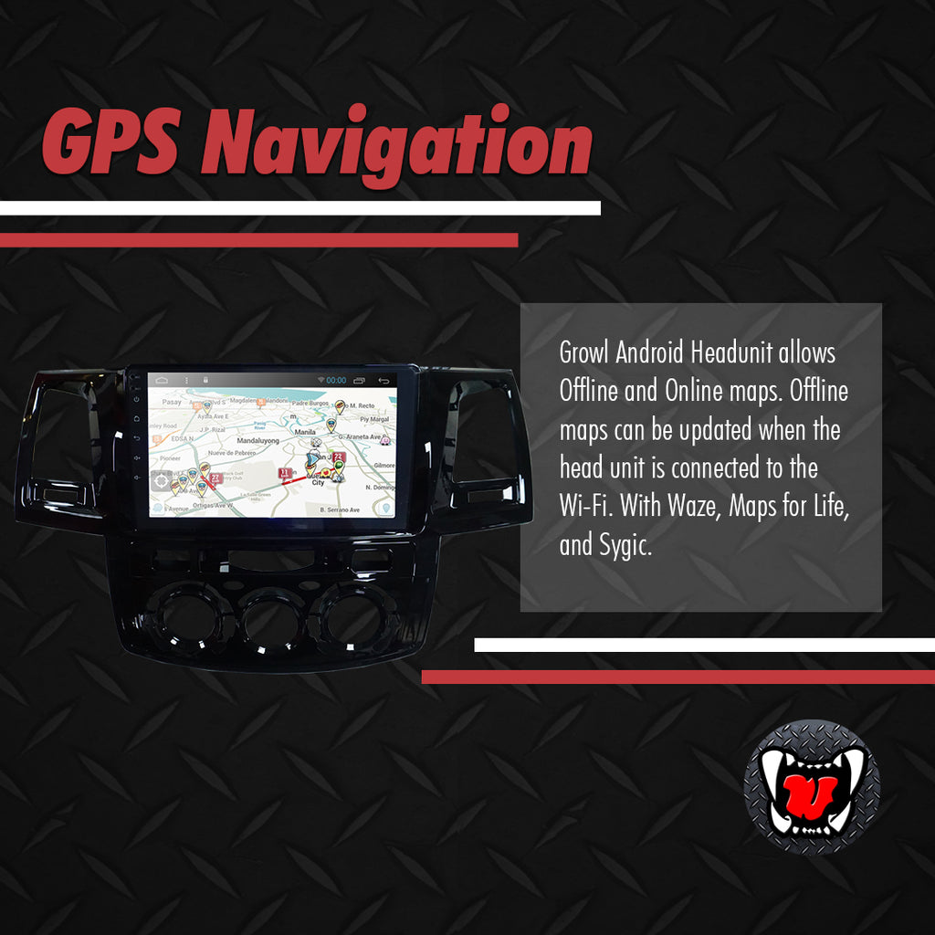 "Growl for Toyota Fortuner 2006-2015 All Variants Android Head Unit 9"" FULL TAB"