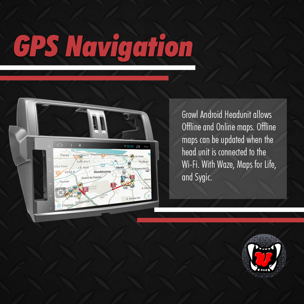 "Growl for Toyota Land Cruiser Prado 2014- 2017 All Variants Android Head Unit 9"" Screen"