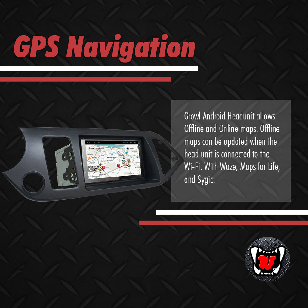 "Growl for Kia Picanto 2012-2016 All Variants Android Head Unit 7"" with panel"
