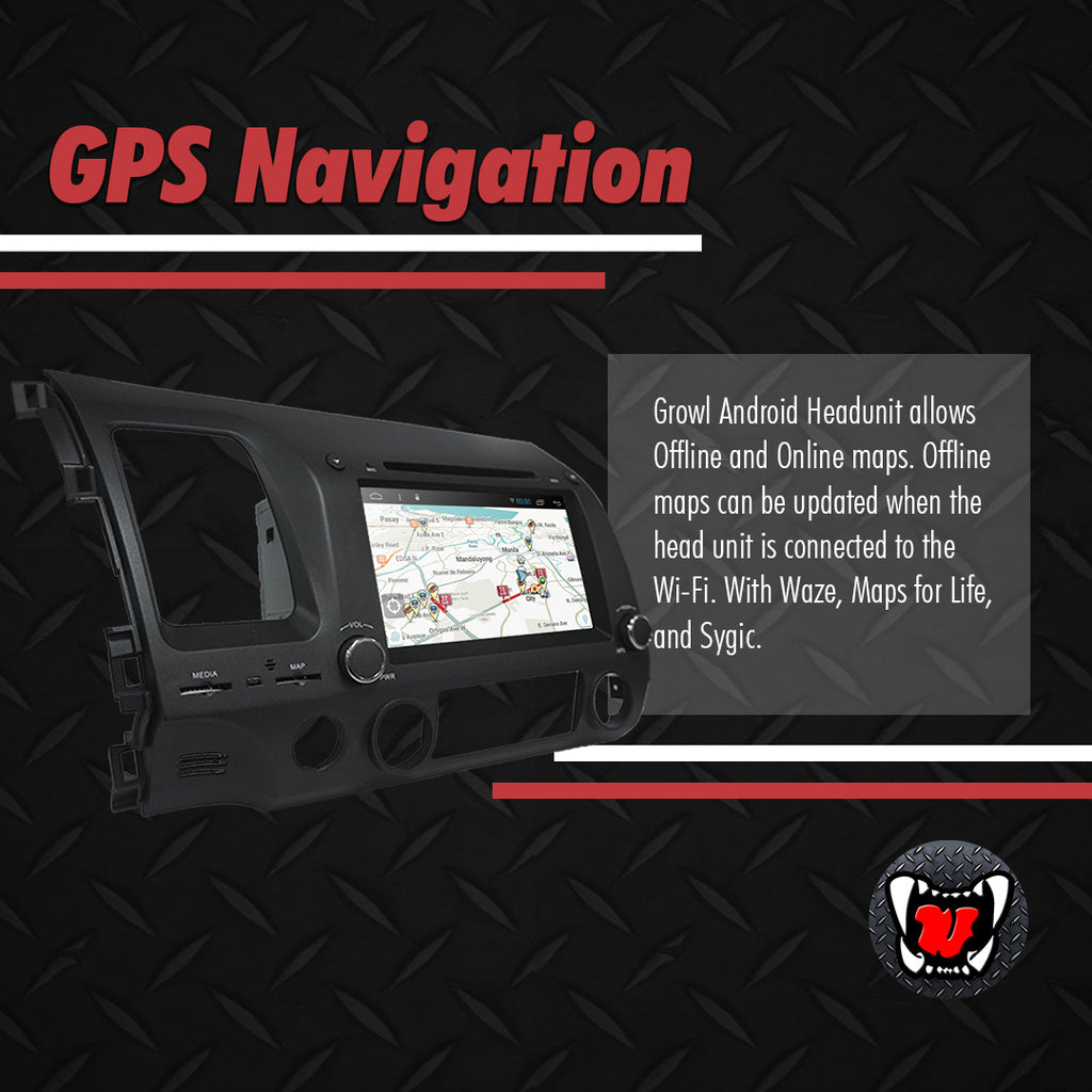 "Growl for Honda Civic FD 2007-2011 All Variants Android Head Unit 8"" BUTTON TYPE"