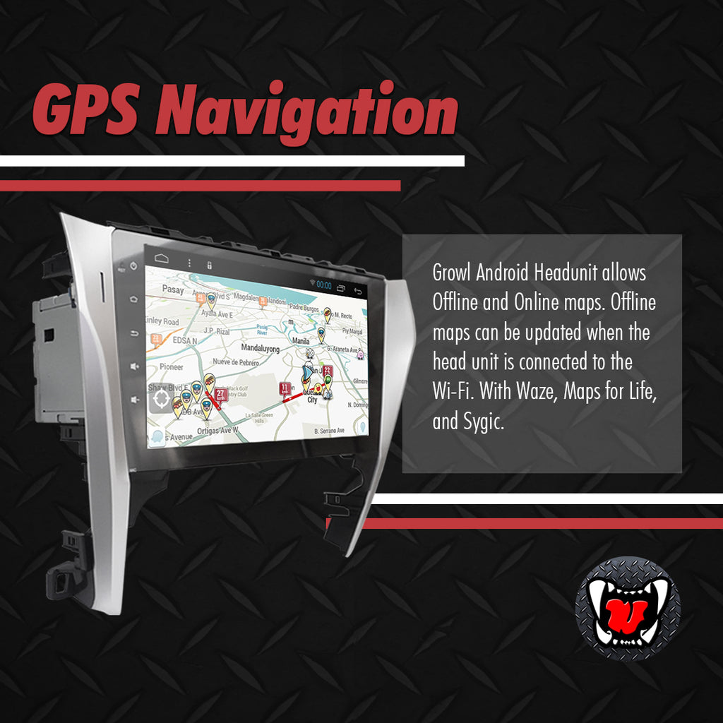 "Growl for Toyota Camry 2012- 2014 2.4 Android Head Unit 10"" Screen"