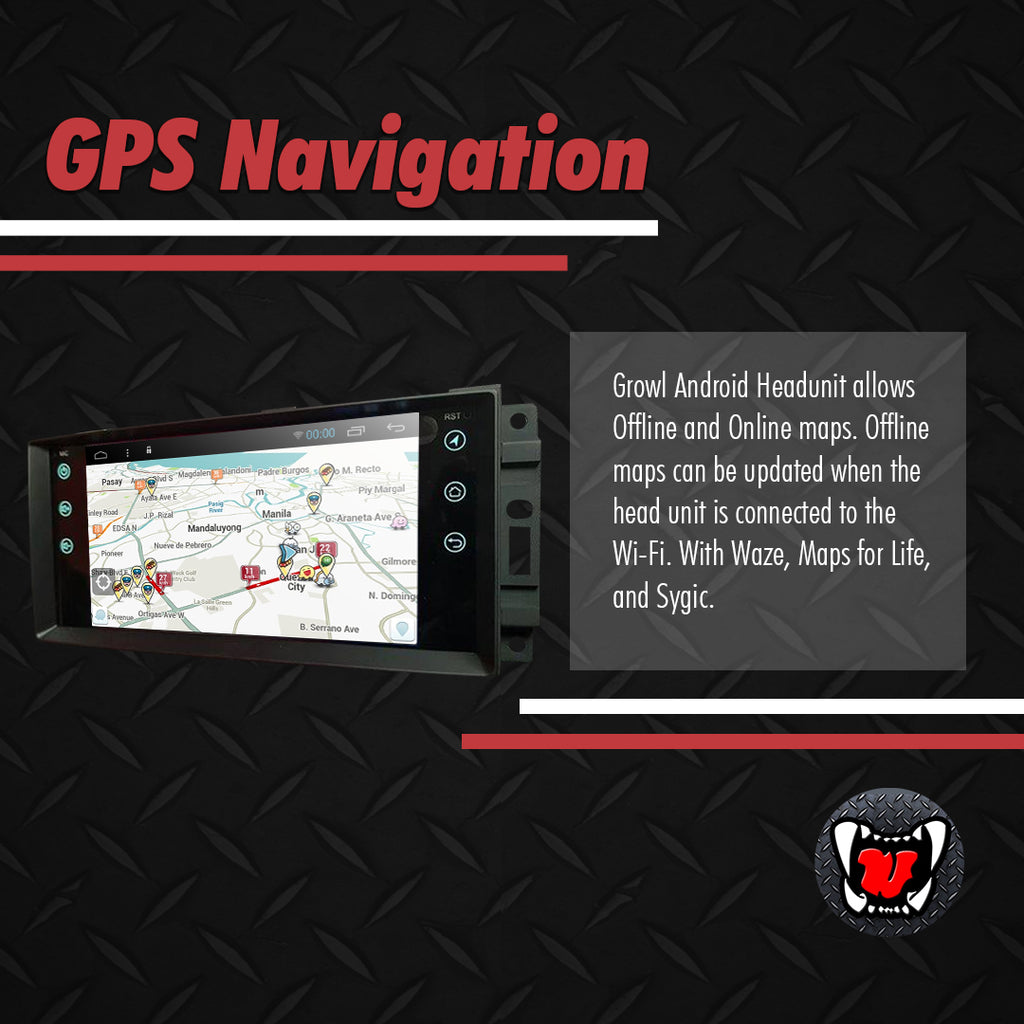 Growl for Jeep Wrangler 2012-2018 All Variants Android Head Unit 7""