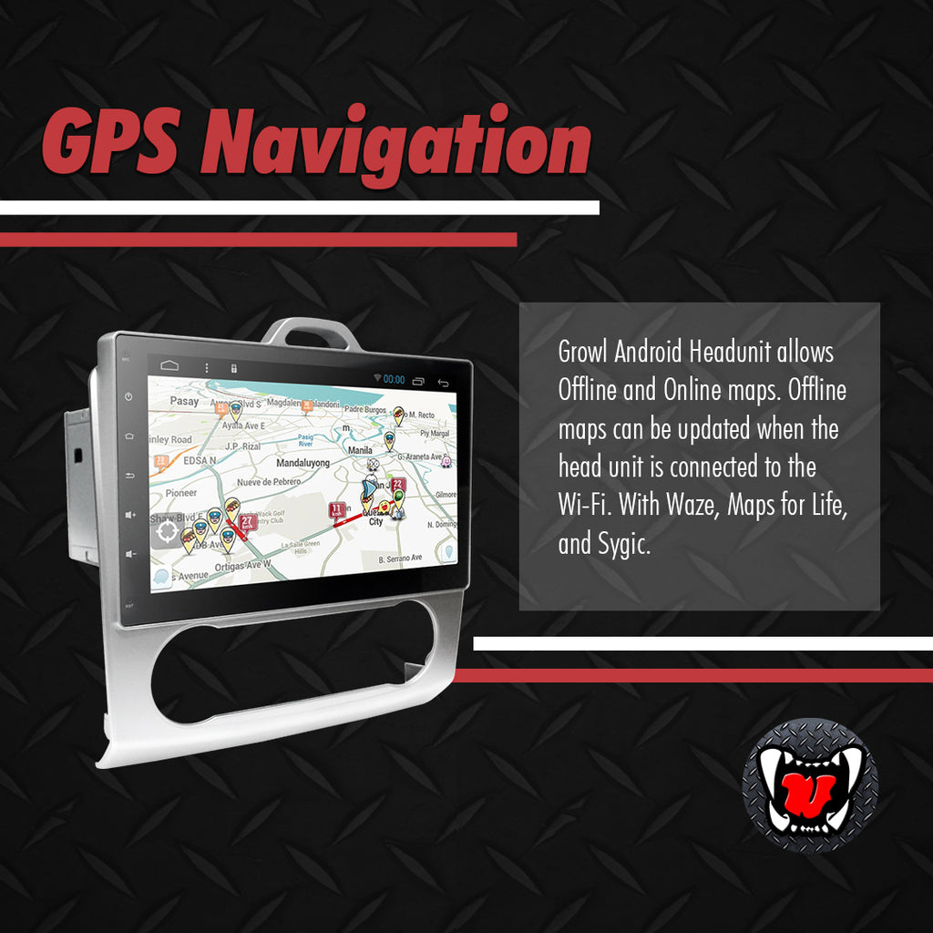 "Growl for Ford Focus 2008-2012 Digital Aircon Android Head Unit 9"" FULL TAB"