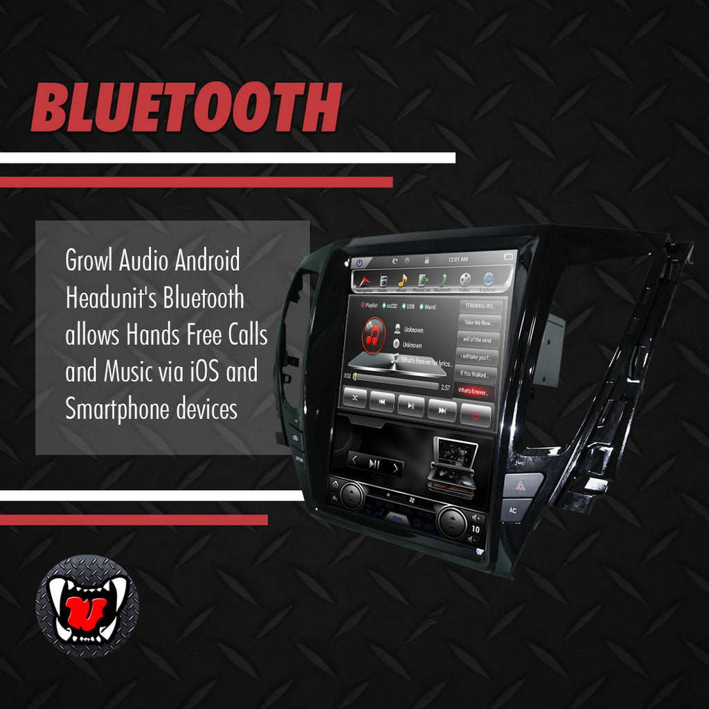 "Growl for Mitsubishi Montero 2016-2019 Variant GLS - GLX AT model Android Head Unit 12.1"" Vertical Screen"