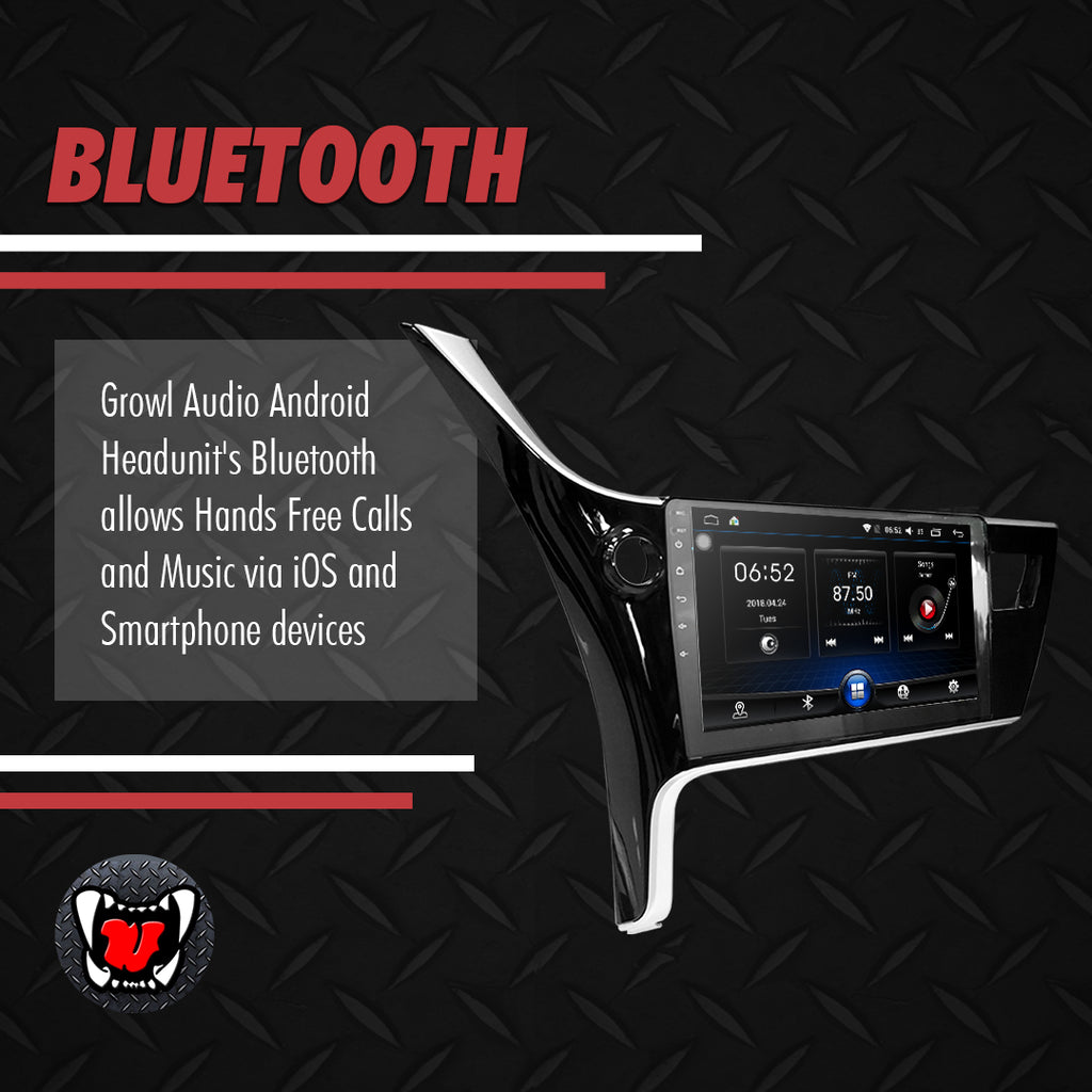 "Growl for Toyota Corolla Altis 2017-2018 All Variants Android Head unit 10"" Screen"