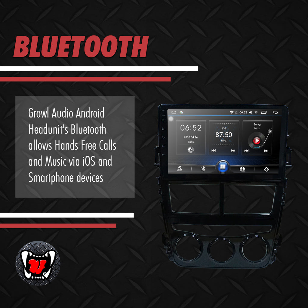 "Growl for Toyota Vios 2019-2020 1.3 Android Head Unit 9"" Screen"