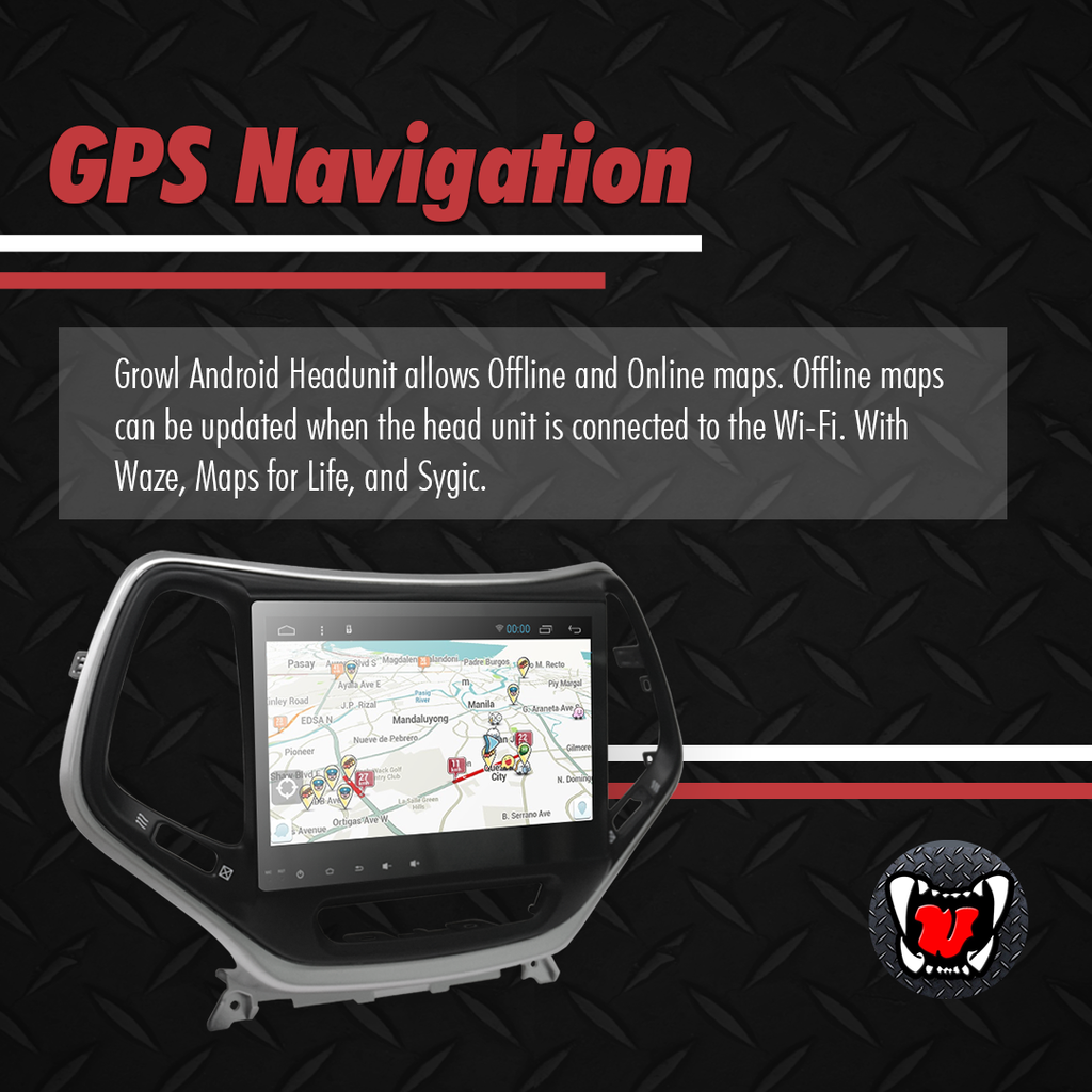 Growl for Jeep Cherokee 2016 All Variants Android Head Unit 9""
