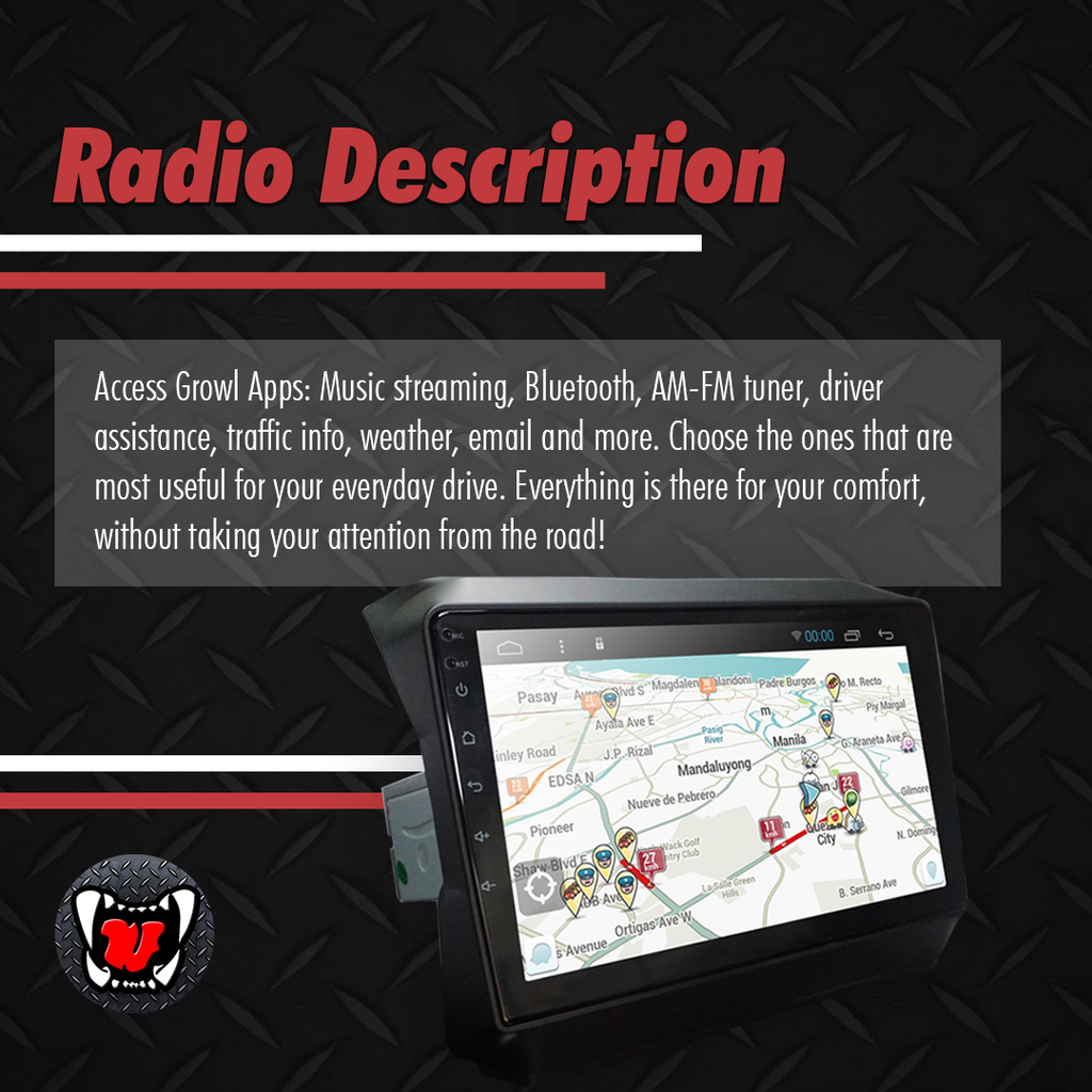 Growl for Jeep Rubicon 2019 All Variants Android Head Unit 9""