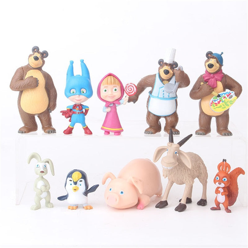10 pieces/set Russia Masha Toy Figure Doll Home Decoration Masse Toys Bear Masshe Action Figure Creative Bear Doll Gift For Kid
