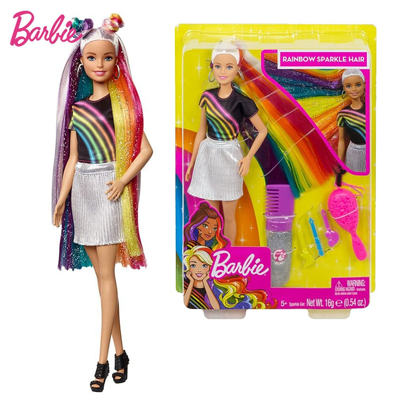 Original Barbie Rainbow Sparkle Hair Doll Birthday Present Girl Brinquedos Bonecas Toys for Kids Juguetes Paratoys Girls Gift