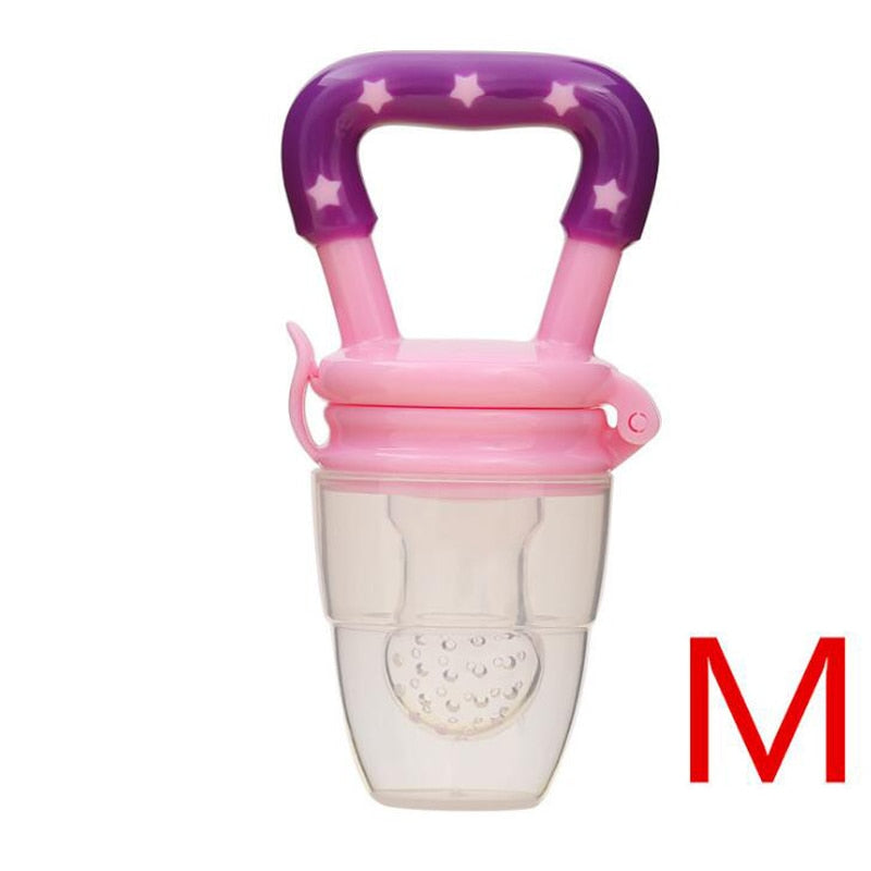 Baby Toys Portable Infant Fruit Nipple Bite Silicone Safety Feeder Pacifier Toys Teethers for 3+ month baby toddler