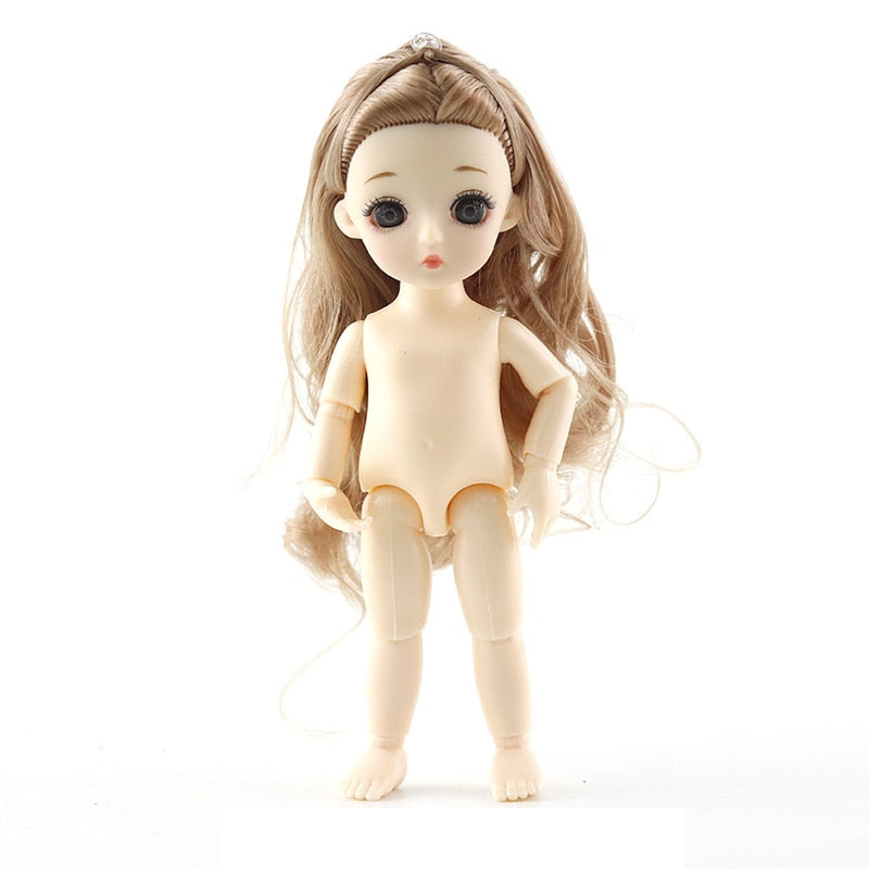 New 13 Movable Jointed Dolls Toys Mini 16cm BJD Baby Girl Boy Doll Naked Nude Body Fashion Dolls Toy for Girls Gift