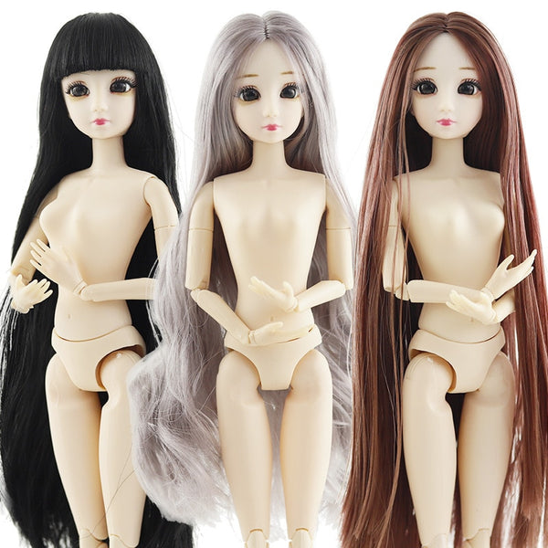 BJD Doll 30cm 20 Movable Jointe Dolls 3D Eyes Bjd Plastic Doll  for Girls Toys Long Wig Female Nude Body Fashion Christmas Gift