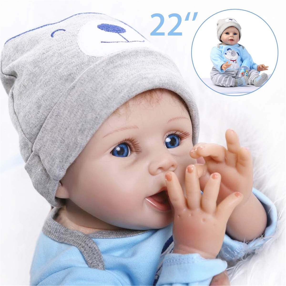 55cm Baby Reborn Dolls Silicone Reborn Baby Dolls Simulation Baby Soft Doll Toys Rubber Reborn Toddlers Toys For Children