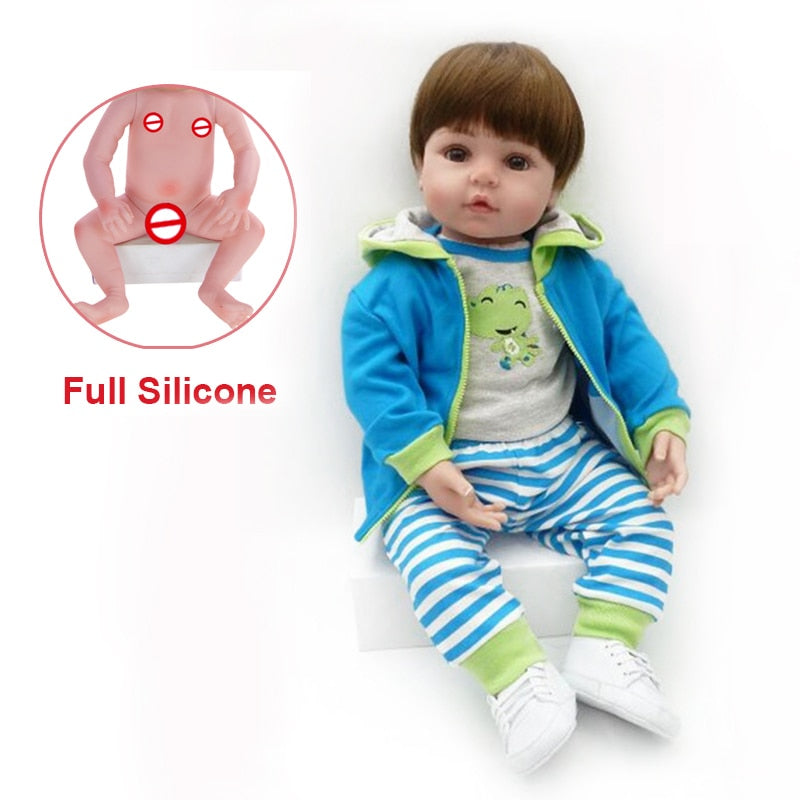 Toy Full Body Silicone Baby Dolls Fashion Waterproof Reborn Bebe Doll Toddler Lifelike Soft Touch Toy For Kids Best Playmate