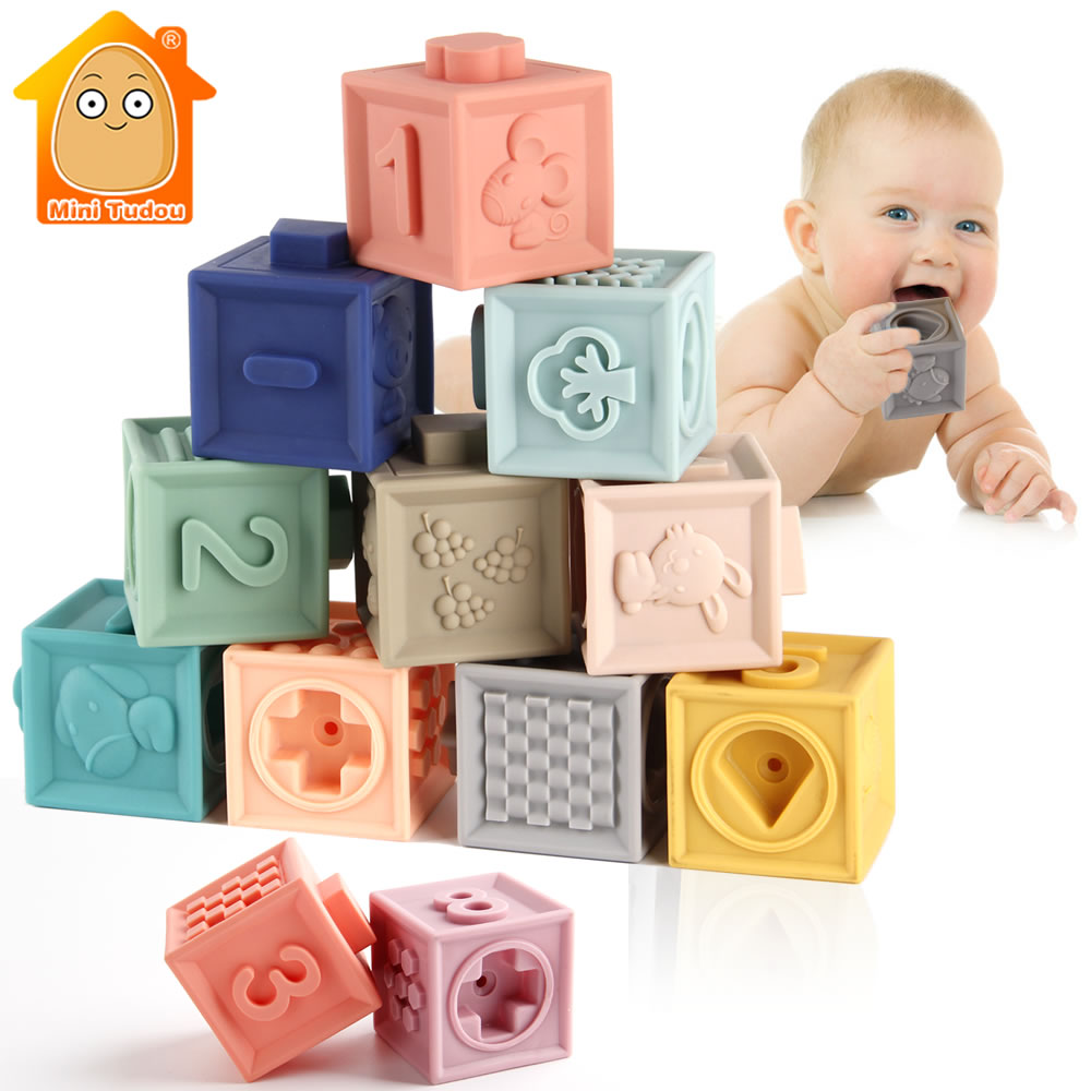 Baby Soft Toys Sensory Silicone Educational Building Blocks 3D Hanging Ball Babies Rubber Teether Squeeze Bath Toys For Toddlers