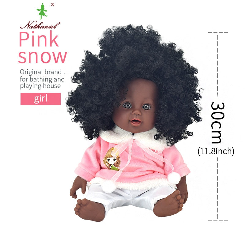 black  baby dolls pop green African! 12inch   reborn silicone vinyl 30cm newborn poupee boneca baby soft toy girl kid todder