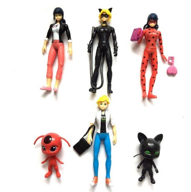 6PCS Ladybug and Cat Noir Juguetes Toy Doll Lady Bug Adrien Marinette Plagg Tikki Plastic PVC Figures gift for girl