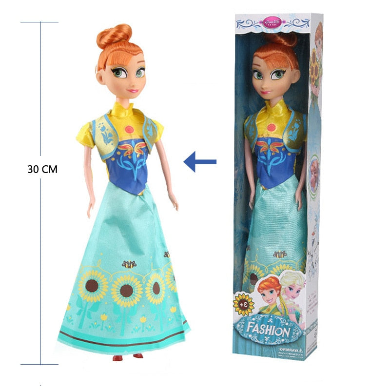 New 31cm Toys Princess Anna Elsa Doll Girls 12 Movable Joints Birthday Gift Cute Girls Pelucia Boneca Juguetes Toys for Children