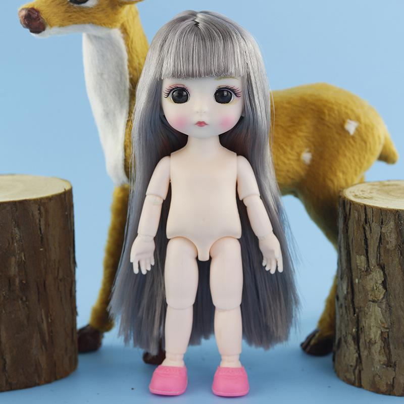New 13 Moveable Jointed 16cm 1/8 Dolls Mini BJD Baby Pink Yellow Silver Hair Naked Women Body Fashion Dolls Toy For Girls Gift