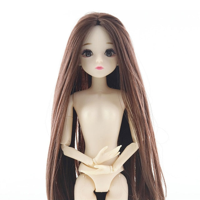 New 20 Movable Jointed 30cm Dolls Toy 3D Eyes Real Eyelashes Long Wigs Female Naked Nude Body Dolls Toys For Girls Gifts