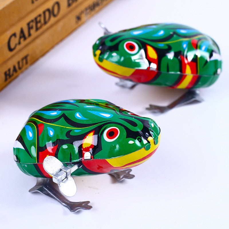 UainCube Kid Wind Up Toys Kids Classic Tin Wind Up Clockwork Toys Jumping Frog Vintage Toy New Action Figures Toys