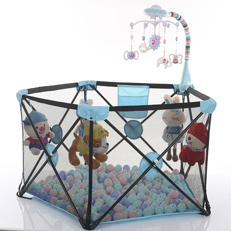 Children's play fence easy installation folding baby crawling pentagon toddler playpen safety fence toy pool for children