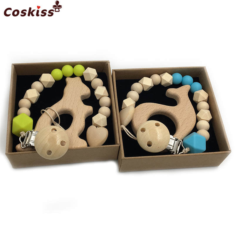2pc Baby Teether Organic Wooden Animal Teether Natural Teething Grasping Toy Silicone Bead Toddler Teether Newborn DIY Baby Gift