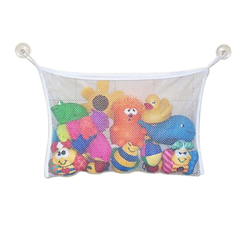 Bathroom Toy Organizer Hanging Mesh Net Storage Bag with 2 Ultra Strong Hooked Suction Cups For Kids, Toddlers & Baby