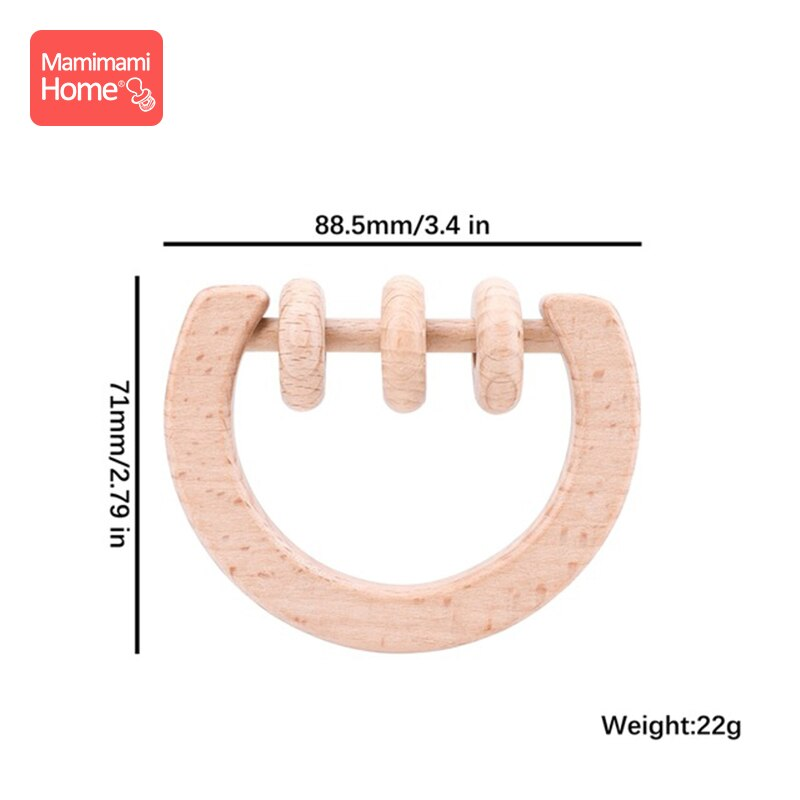 1pc Baby Wooden Teether Toys Rattle Animal Moon Beech Ring Of Toys Bpa Free Wooden Rodent Toddler Toys Newborn Gift Baby Product