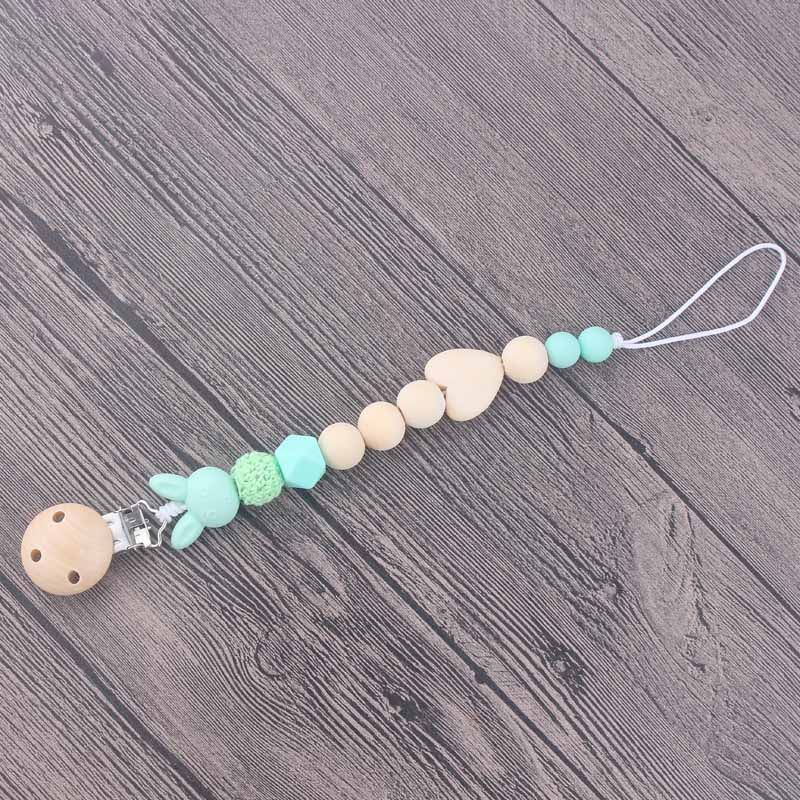 Wooden Baby Pacifier Clip Chains Infant Toddler Crochet Beads Silicone Beads Pacifier Holder Toy Leash Strap