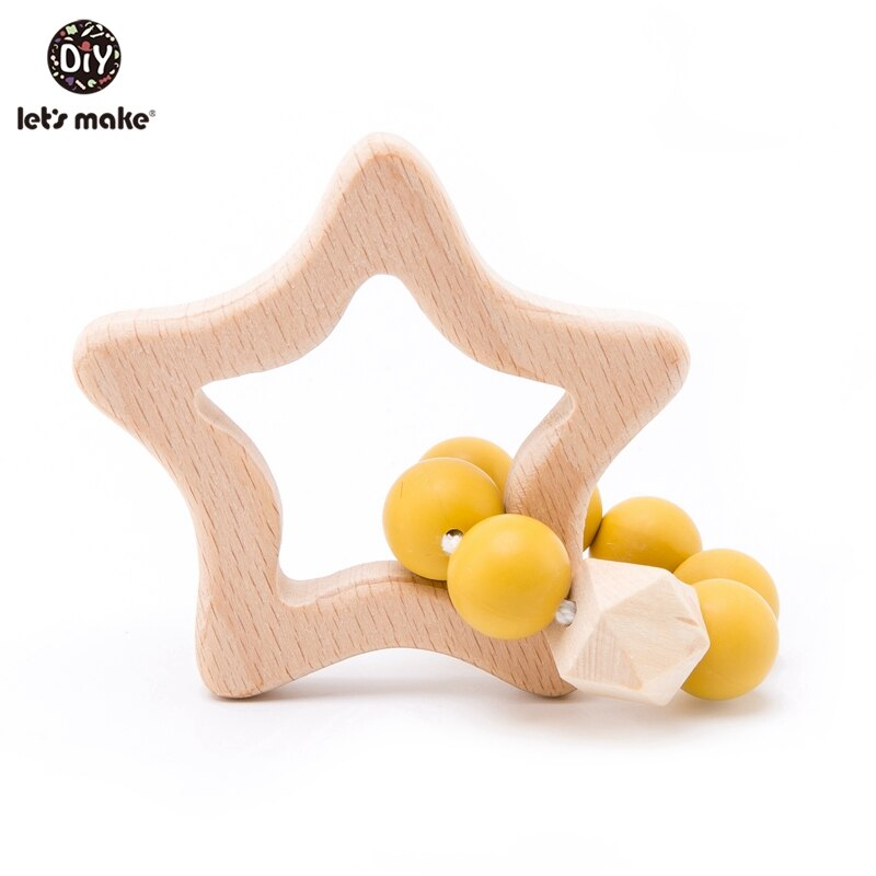 Let's Make 1pc Wooden Baby Toys Rabbit Cloud Silicone Teething Toddler Nursing Wood Baby Teether Silicone Crib Baby Rattle