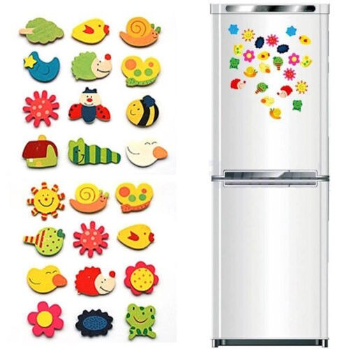 12Pcs Refrigerator Magnets Stickers Wooden Cartoon Animal Baby Kid Educational Toys Set Preschool Toddler Toy Random Style