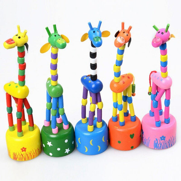 1Piece Dancing Toddler Children Learning Toys Wooden Animal Giraffe Baby Kids Developmental Toy Support Drop Shipping 2