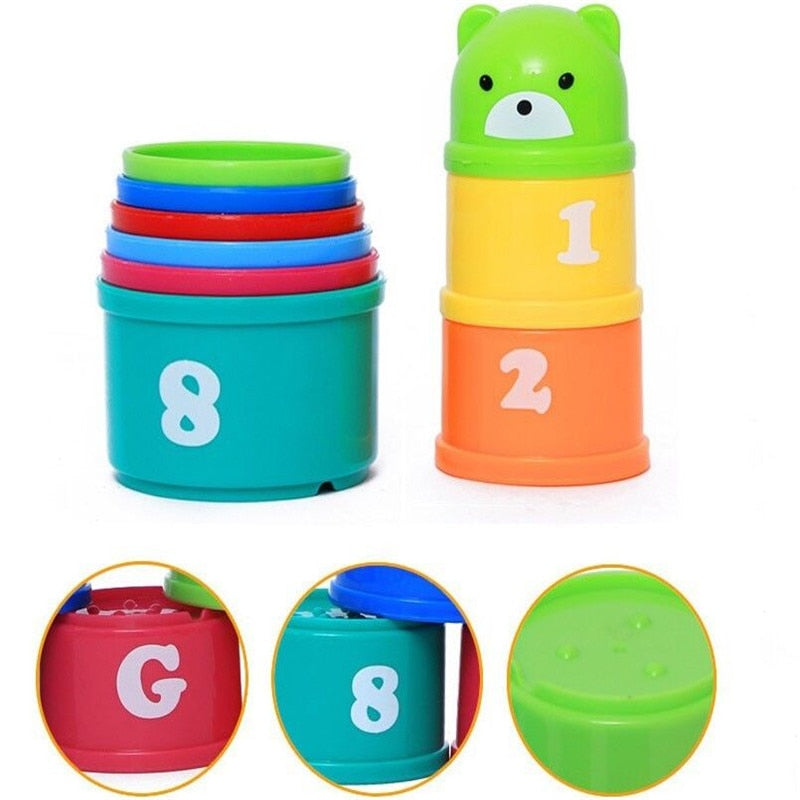 Infant Toddler Baby Kids Play Educational Letters Piles Folding Cups Lovely Bear Cup Stacking Toys Gift 2019 Newest Hot