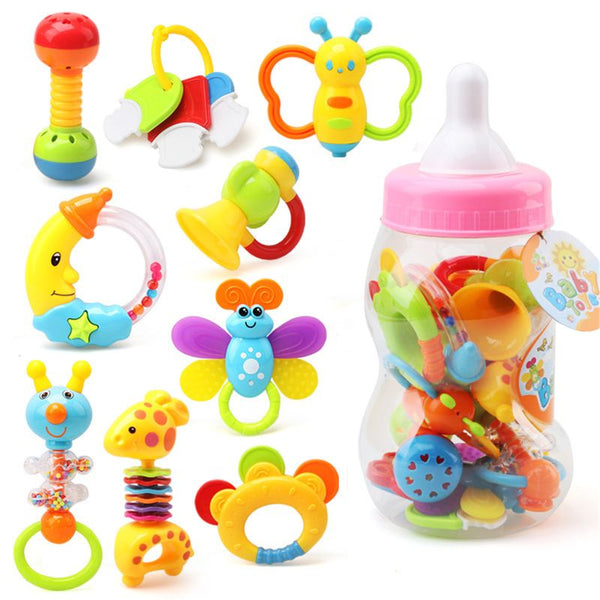 Infant Rattle Teething Baby Toys Bottle Storage Shake GRAP Baby Hand Development Teethers Toy Set  Newborn Toddler for children
