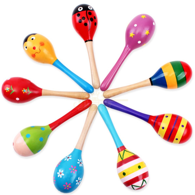 Baby Rattles Mobiles Wooden Toys Toddler Bed Bell Stroller Maracas Ball Educational Noise Maker Musical Hammer Toy for Children