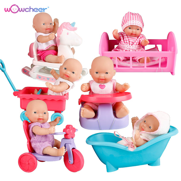 WOWCHEER 12CM 6PCS Bebes Reborn Mini Baby Dolls With Cradle Strollers Soft Silicone Small Dolls Realistic Kawaii Toys Girls Gift