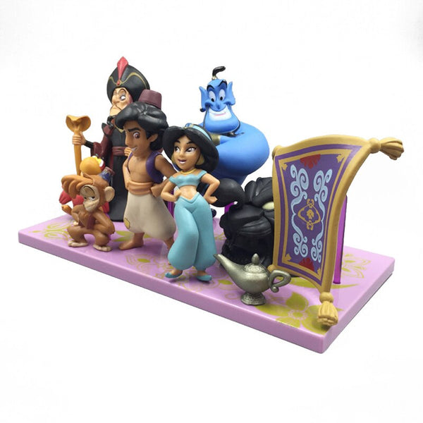 Disney Princess Aladdin Anime Figures Doll Jasmine Genie Jafar Anime Figure PVC Action Figures Toys Christmas Gift for Kid