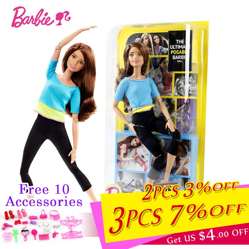 Original Barbie Joint Movement Doll Gymnastics Yoga Dancer Soccer Player Barbie Doll Children Educational Toy Girl Gift FTG80