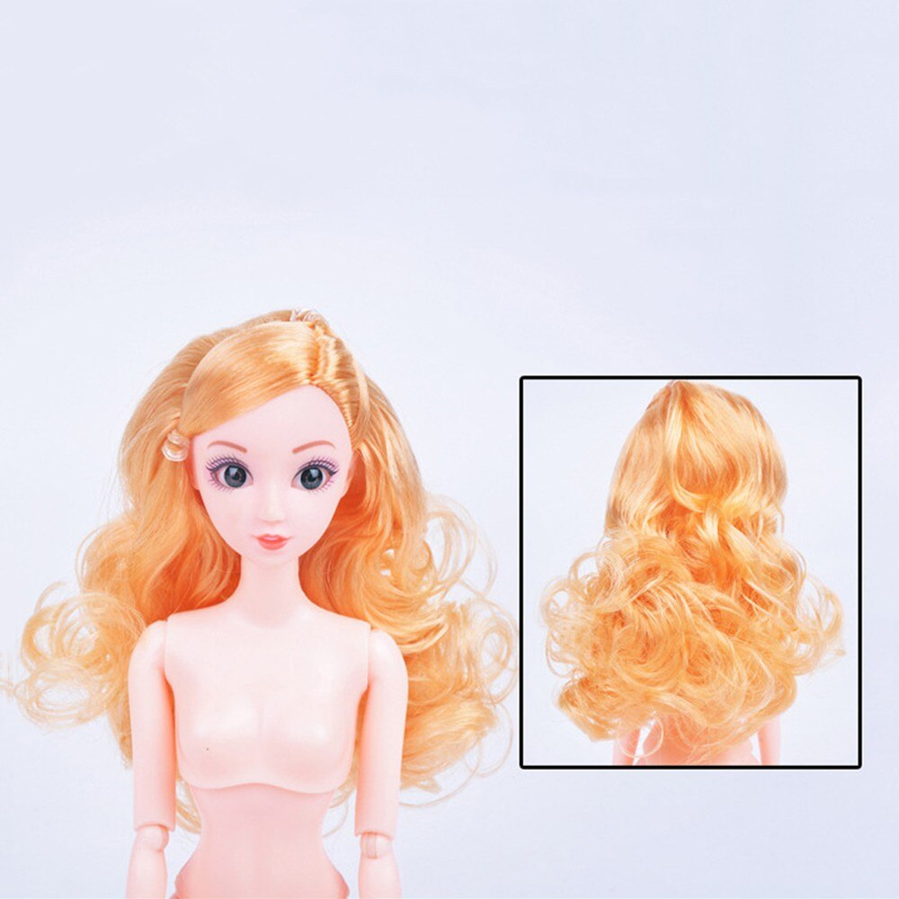 Doll Nude Body 12 Jointed Moveable With Color Hair 3D Eyes DIY Toys Accessories Birthday Gift for Girl