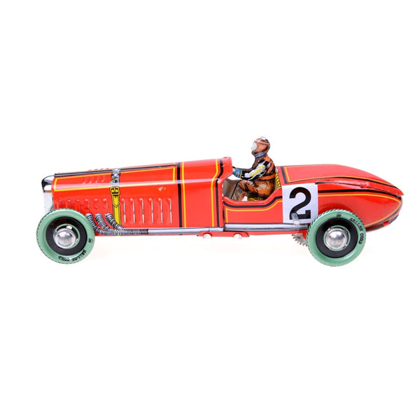 1Pc Iron Metal Handicraft Vintage Windup Classic Red Race Car Model Clockwork Tin Vehicle Toy Collectable Gift