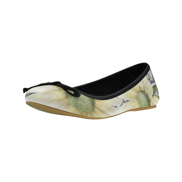 Daisy and Black Juno Ballet Pumps by Patricia Ann Brubaker
